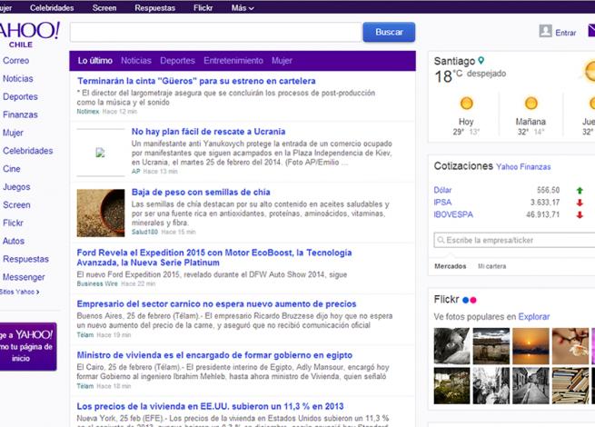 Portada de Yahoo