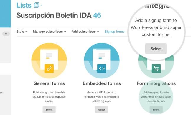 Form Integrations MailChimp