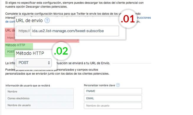 url para configuración MailChimp