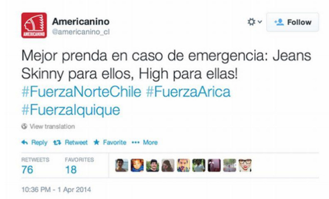 Tweet de Americanino
