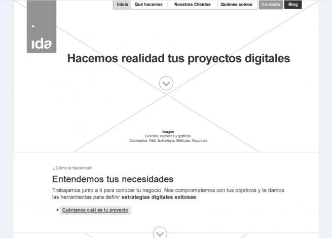Wireframe de la página de inicio de IDA