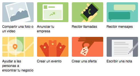 Opciones de publicación para páginas de empresa en Facebook