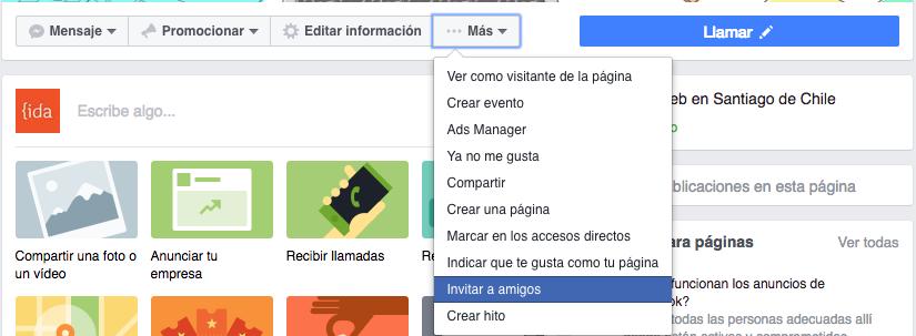 Opción para invitar amigos a páginas de Facebook