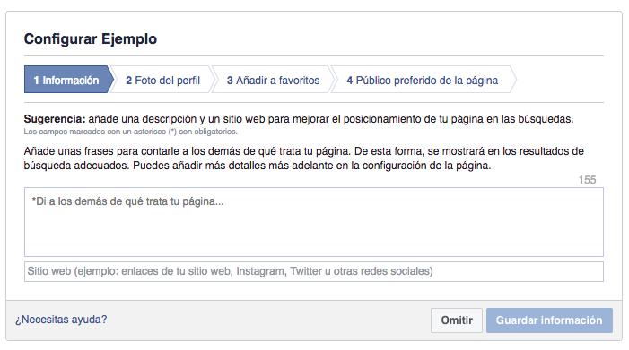 configuración de los datos de una página de empresa en Facebook