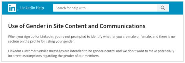 En el registro de LinkedIn, no se pide identificación de hombre o mujer.