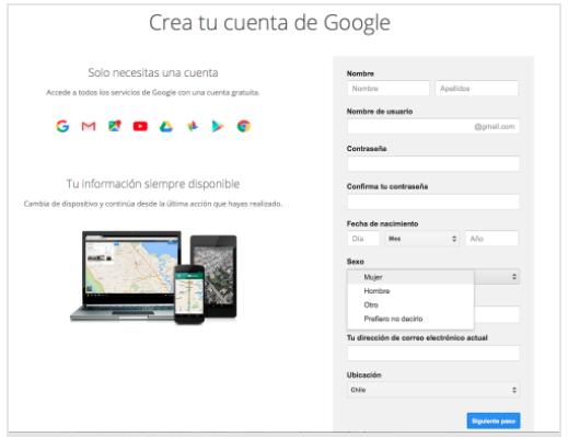 Campos solicitados por Gmail para la creación de una cuenta