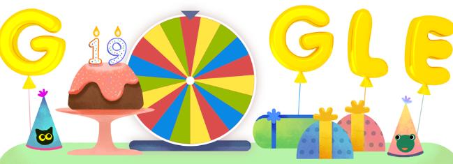 Doodle con el cual Google conmemoró sus 19 años de vida.
