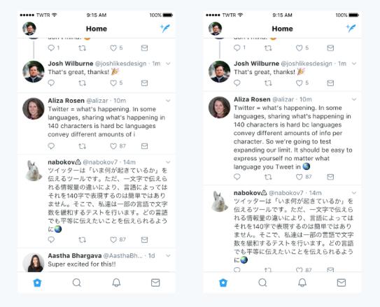 Ejemplos visuales de cómo se ven mensajes en Twitter con 140 y 280 caracteres
