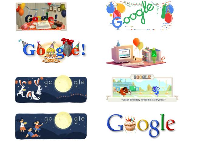 Selección de doodles de google por los 19 años del buscador