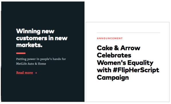 Diferencias en diseño de titulares y cuerpo de texto en propuesta Cake&Arrow