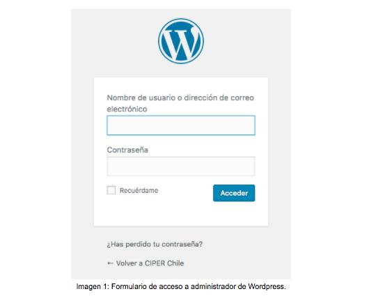Captura inicial ventana de ingreso a wordpress