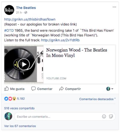 Vista previa de una publicación Facebook en nuestro feed de noticias