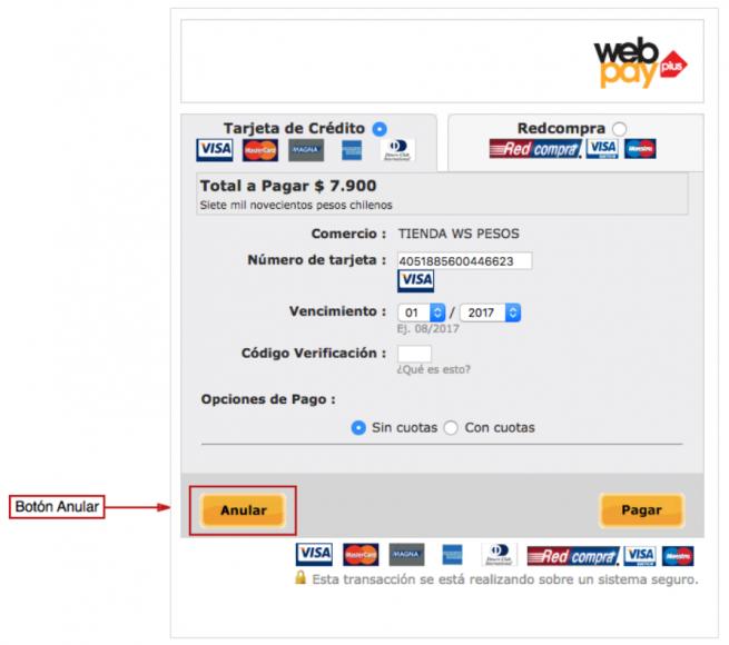 Anular Webpay Plus Webservice