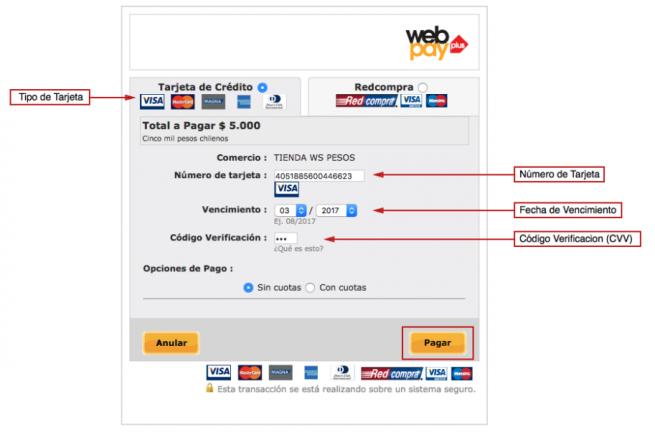 PRueba de integración tarjeta de crédito sin cuotas