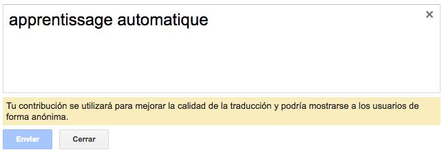 Mensaje para mejorar la traducción en el Traductor de Google