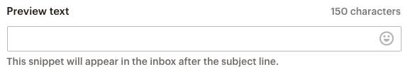 Captura de pantalla del campo preview text con un mensaje que indica dónde aparecerá el texto luego en Mailchimp
