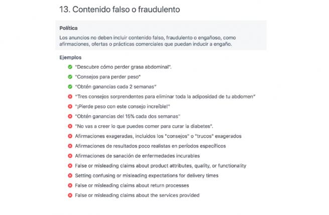 Captura de pantalla de información sobre contenido falso o fraudulento.