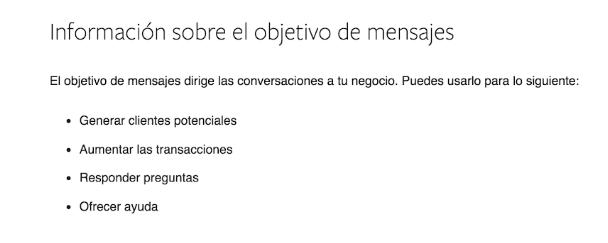 Captura de pantalla sobre la información sobre el objetivo de los mensajes