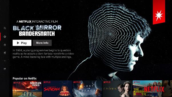 Portada de Netflix con Bandersnatch como contenido destacado