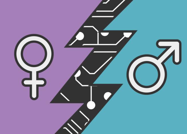 Simbolo femenino y masculino, separado por un rayo.