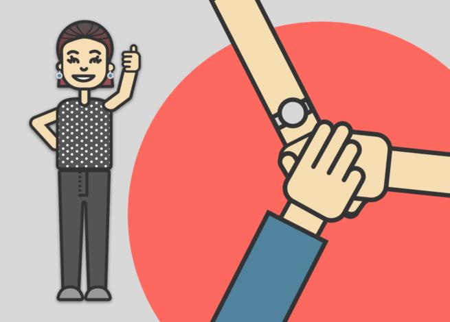 Persona de pie en señal positiva, y manos entrelazadas.