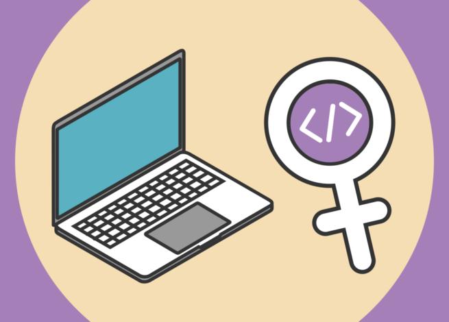 Computador, signo femenino y símbolos de programación.