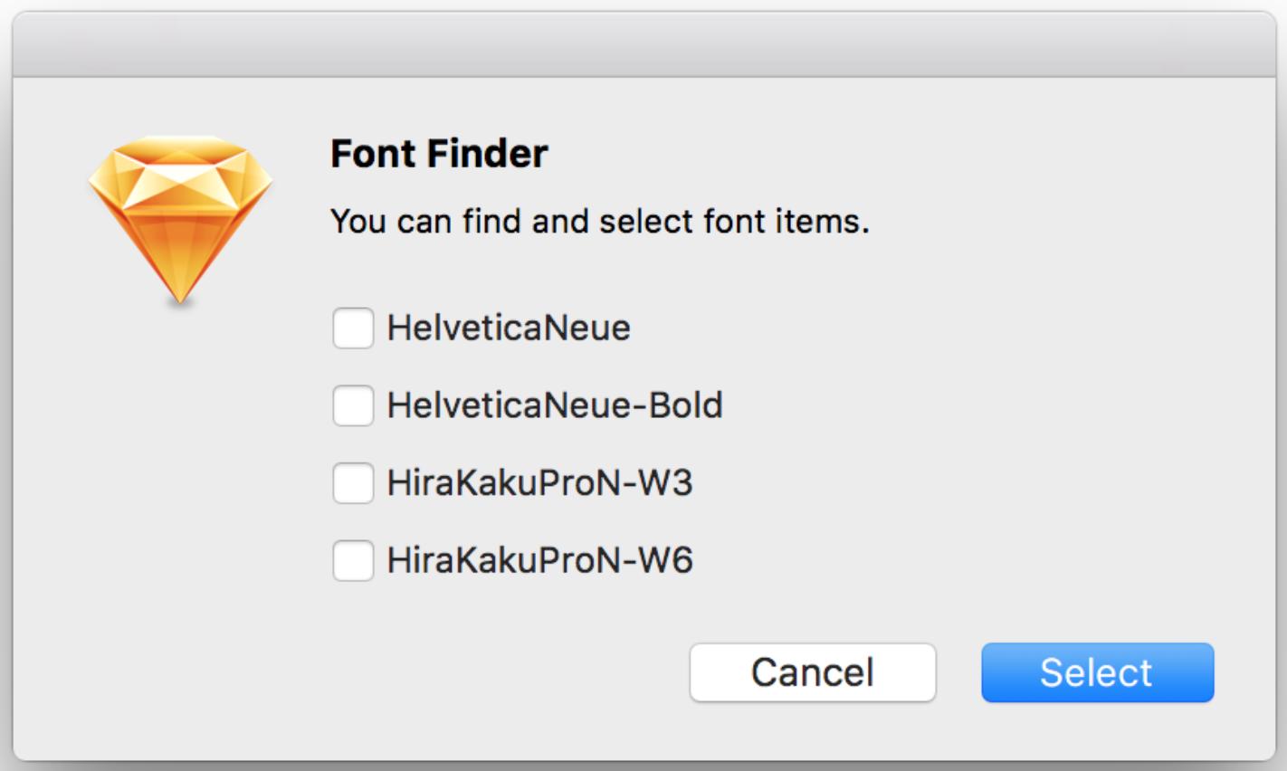 Pestaña de funcionamiento de font finder, que muestra diferentes tipos de letras.