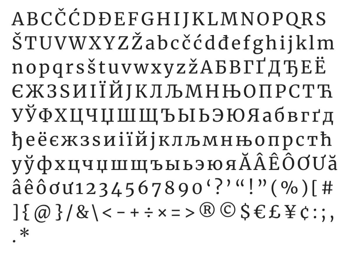 Caracteres latinos y cirílicos de la tipografía Merriweather.