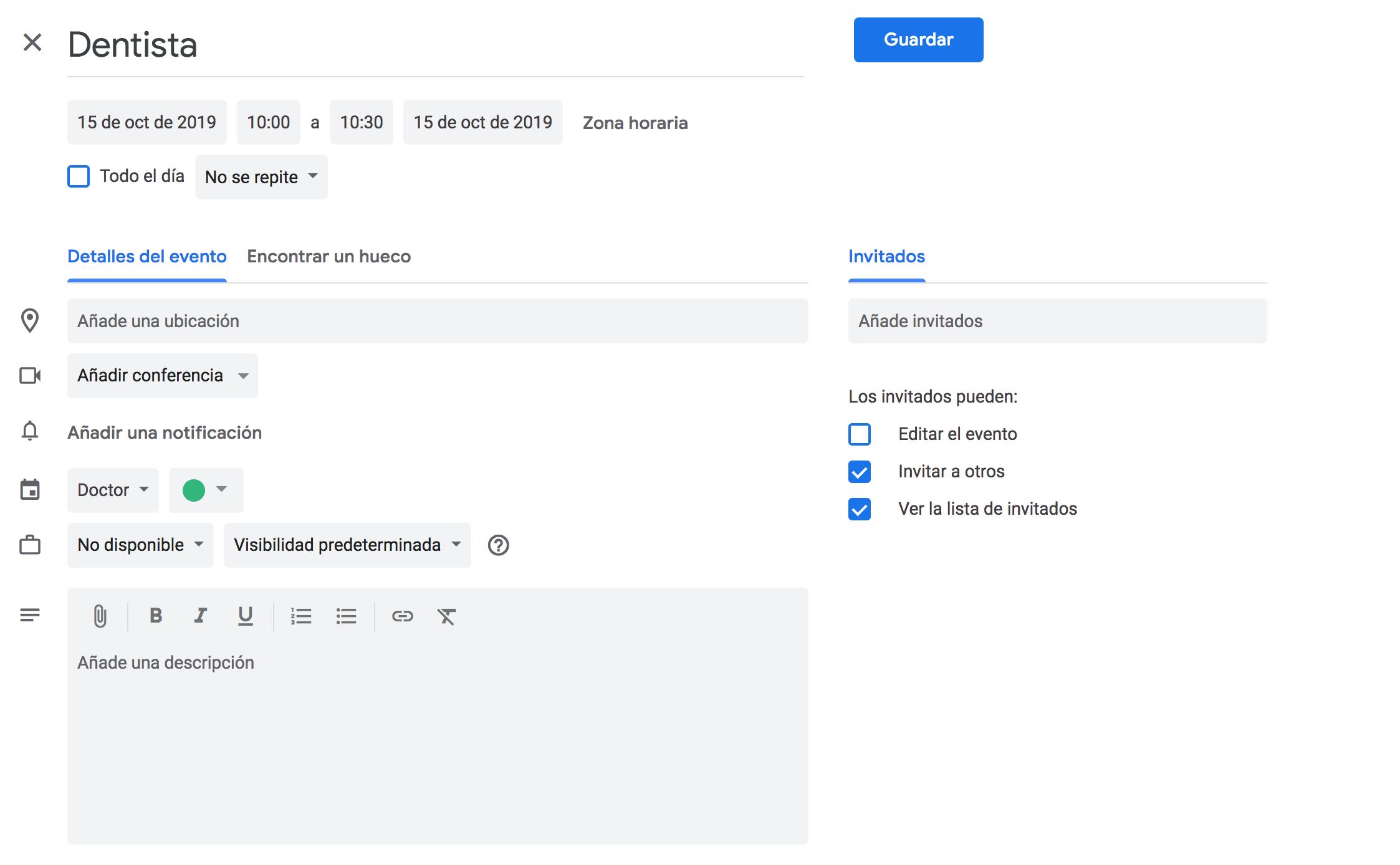 Detalle de un evento en Google Calendar donde aparecen las opciones.