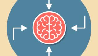 Un cerebro al rededor de cuatro flechas que simulan los cuatro tipos de memoria.