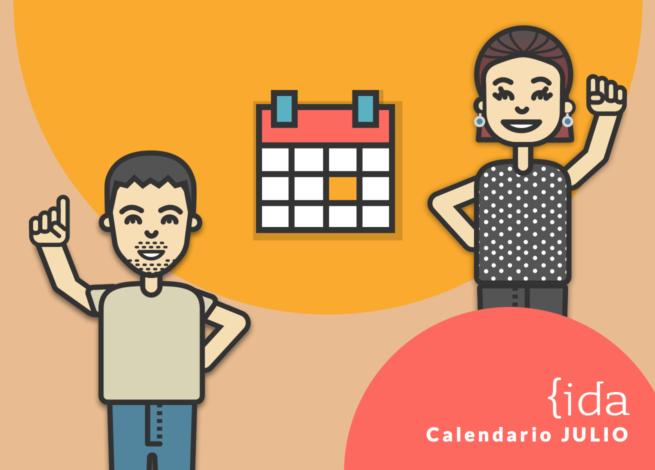 Dos personas al rededor del calendario.