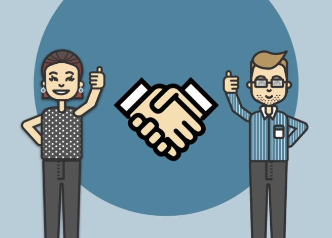 """Cliente y consultor con un gesto de """"manos dadas"""" entre ellos."""