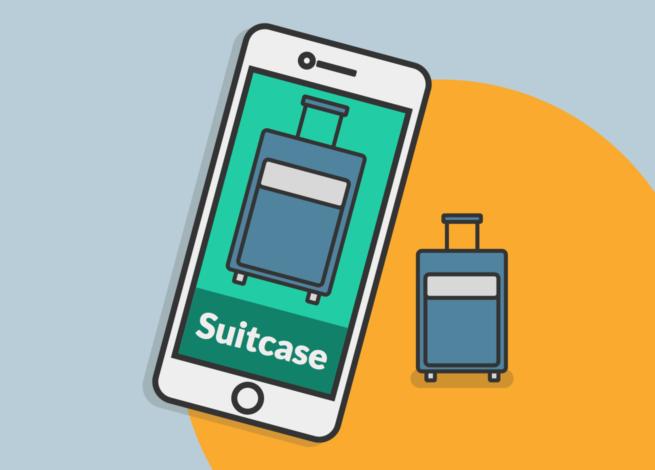 Una maleta y un celular en el que se muestra el nombre de la maleta en otro idioma.
