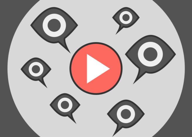 Ojos sobre acoso en línea al rededor de un símbolo del botón play típico de YouTube.