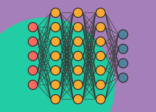 Red neuronal, representada con diferentes colores. Representando las redes del Deep Learning.
