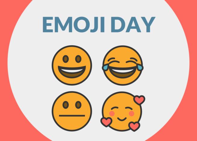 """Emoji de sonrisa, seriedad y felicidad, bajo el lema """"Emoji Day""""."""
