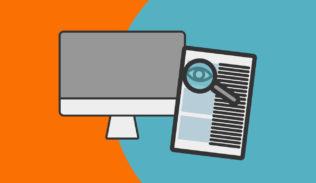 Una pantalla y un texto con lupa, representan el Contrato para la Web.