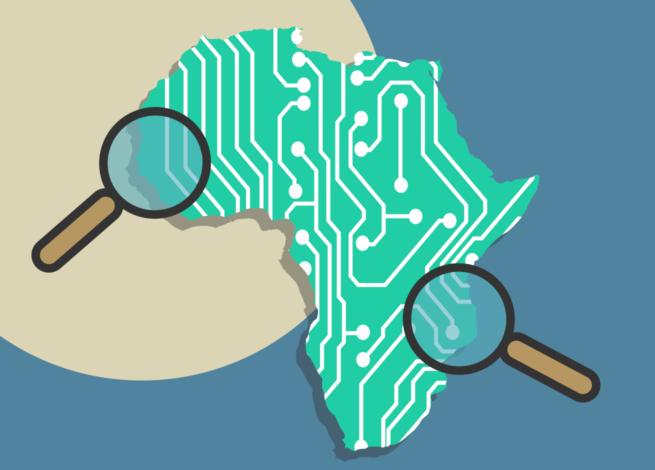 África presentado como una tarjeta de circuitos y lupas buscando sobre ella.