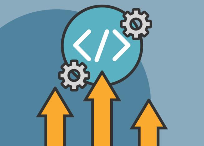 Flechas que apuntan hacia el símbolo de inicio y cierre de un código de programación.