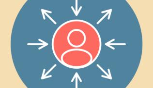 La silueta de una persona dentro de dos círculos, con flechas que apuntan hacia a ella y hacia afuera.