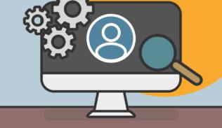 Engranaje y computador, simulando una búsqueda.