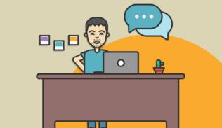 En un escritorio, una persona realiza una entrevista.