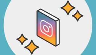 Instagram al rededor de unas chispas de brillo.