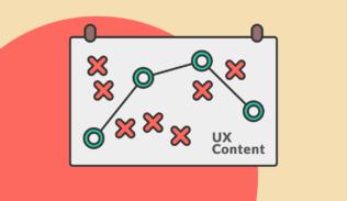 Un gráfico señala puntos positivos y negativos de la estrategia de UX Content.