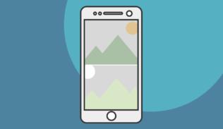 Campaña de comparación dentro de un teléfono con dos imágenes en pantalla.