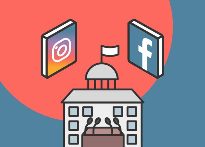 Instagram y Facebook al rededor del congreso, simulan los anuncios políticos.