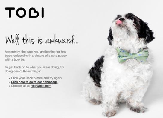 Un perrito aparece en el error 404 de Tobi