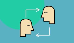 El diseño empático representado con el flujo entre dos personas.
