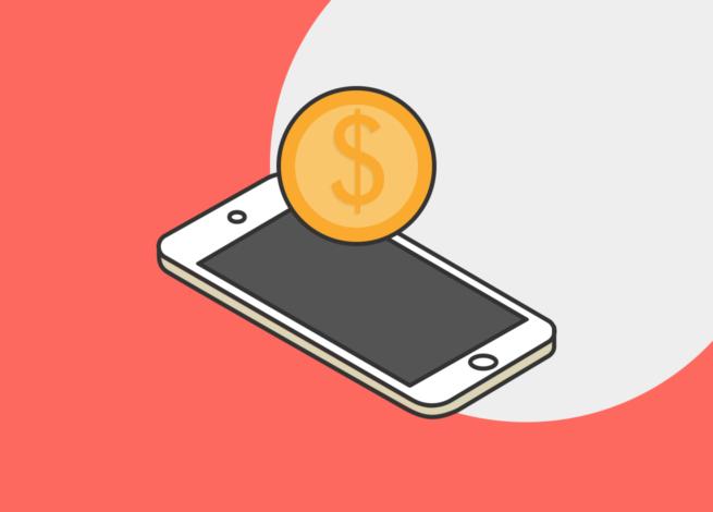 Una moneda sobre un smartphone, simula el funcionamiento de google Pay en dispositivos digitales.