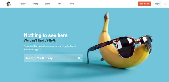Mensaje de error 404 en Mailchimp, contiene un plátano.